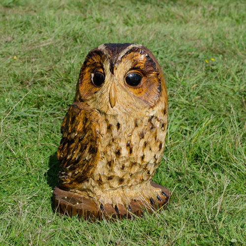 Tawny owl chainsaw carving maytree