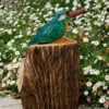 Kingfisher On Log wooden sculpture