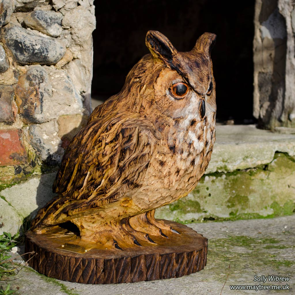 Eagle Owl Chainsaw Carving - Garden Sculpture