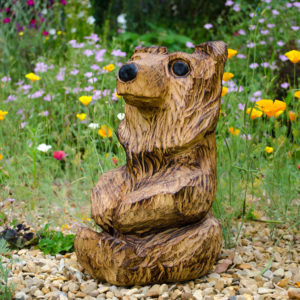 Teddy bear chainsaw carving