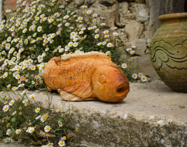 Yew Koi Carp sculpture
